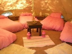 Faraway Hideaway Glamping - 3 bell tents sleeping 15 - Bodenham Herefordshire - self catering in Heart of England Sleepover Party, Spa Party, Slumber Parties, Sleepover Activities, Pamper Party, Neon Party, 14th Birthday, Girl Birthday, Hen Night Ideas