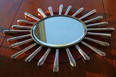 Starburst Mirror made with vintage mismatched silverware