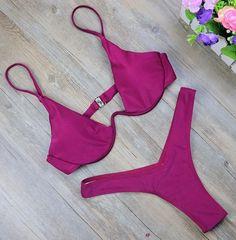 Brazilian Bikini Set Bathing Suit High Waist Swimsuit Solid Swimwear For Women