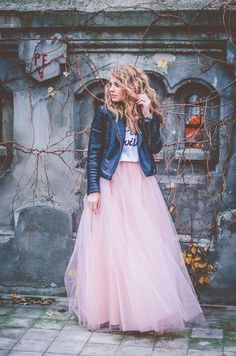 Floor Length Layered Tulle Long Skirt