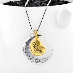 Buy 2 Items Get 1 Free FREE SHIPPING(usually delivered within 48h-72h) Get this awesomeI Love You to The Moon and Back Mom Necklace! Material:925 Sterling Si Love You, My Love, Box Chain, Jewelries, Silver Color, Jewelry Collection, Washer Necklace, Moon, Necklaces