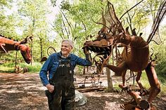 Retired lawyer Clyde Wynia claims the fanciful metal sculptures at his Jurustic Park sprang from nearby McMillan Marsh.