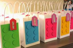This is my and final post chronicling the fun of Claire& Girly Lego Birthday Party! To make the Lego party favor bags, I used . Lego Party Favors, Lego Themed Party, Lego Birthday Party, 6th Birthday Parties, Party Favor Bags, 4th Birthday, Birthday Ideas, Lego Party Decorations, Goody Bags
