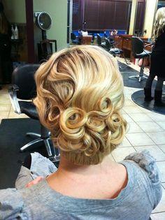 Pin curl updo:)
