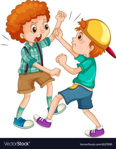 Two boys fighting Royalty Free Vector Image - VectorStock Murals For Kids, Art For Kids, Action Cards, School Clipart, Kids Behavior, Preschool Worksheets, Pre School, Kindergarten, Clip Art