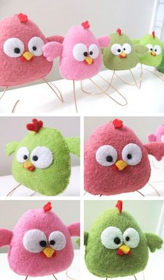 Cute little felt birds Baby Crafts, Easter Crafts, Fun Crafts, Crafts For Kids, Arts And Crafts, Sewing Crafts, Sewing Projects, Craft Projects, Baby Dekor