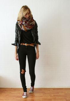 black tee + black skinnies + belt + leather jacket + patterned infinity scarf + converse