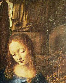 Vergine delle rocce, Leonardo da Vinci, dettaglio la madonna