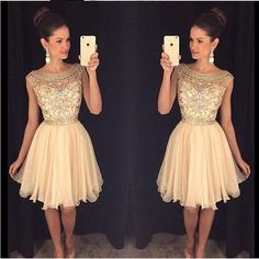 champagne beaded See through Sexy homecoming prom dresses, cocktail dress The see through beaded homecoming dresses are fully lined, 8 bones in the bodice, chest pad in the bust, lace up back or zippe