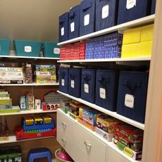 Playroom organization rule no. 1: Avoid lids whenever possible. It creates a barrier between your child and getting their toys and putting them away. Image: Amanda LeBlanc. Design a playroom of your own at http://organizedliving.com