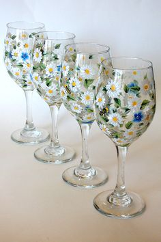 Set of 4 Hand Painted Wine Glasses White Daisy Forget-me-not Flowers Bees Hand Painted Glassware Stemware Painted Glass Custom Wine Glasses (painted by Helen Krupenina)