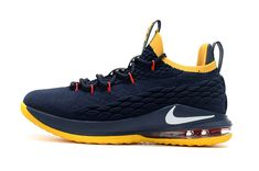 65b00370ef29 Authentic Nike LeBron 15 Low Dark Blue Yellow