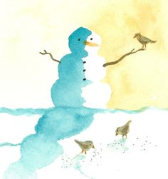 8 Holiday Cards - Snowman with birds - Set of 8. Etsy $20.00 by Jennifer Burger O'Brien