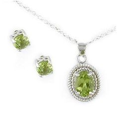 Sterling Silver .925 Peridot Gemstone 2.28CT Necklace & Earrings Set - FREE Shipping!
