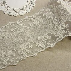 Vintage Style Embriedered Tulle Lace Trim Double Edged Fabric Flower 11cm Wide