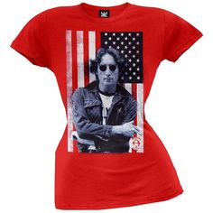 John Lennon - Flag Photo Juniors T-Shirt