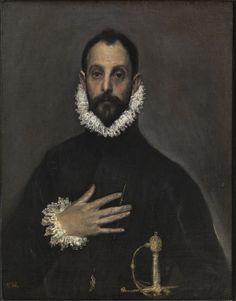 El caballero de la mano en el pecho - El Greco (Hacia 1580) Óleo sobre lienzo - 82 cm x 66 cm - Una de las obras maestras del Renacimiento español - Museo Nacional del Prado - Madrid