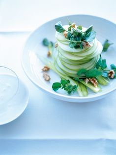 waldorf-salad #plating:      Granny Smith (green) apples, thinly sliced     1 stalk celery, thinly sliced     1 cup (100g) walnuts, chopped     2 cups watercress sprigs  blue cheese dressing      ¼ cup (75g) whole-egg mayonnaise     2 teaspoons lemon juice     2 tablespoons water     sea salt and cracked black pepper     100g soft blue cheese, chopped