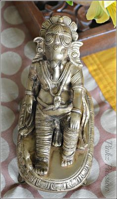 Brass collectible, brass Ganesha, Antique Ganesha, Indian décor, Interior styling, Ganesha vignette