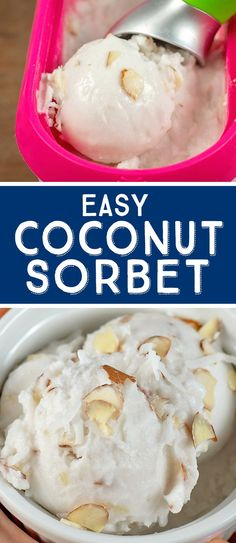 This coconut sorbet in the ice cream maker is sweet, creamy and oh-so coconutty…. This coconut sorbet in the ice cream maker is sweet, creamy and oh-so coconutty. With only 3 ingredients, this recipe is quick and easy to make. Mango Sorbet, Coconut Sorbet, Sorbet Ice Cream, Coconut Ice Recipe, Coconut Sugar, Coconut Cream, Homemade Banana Ice Cream, Healthy Ice Cream, Vegan Ice Cream