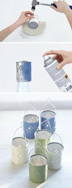 Las latas de conserva son otro de los materiales a los que podemos darle una segunda vida como en estos portavelas.