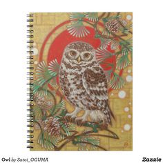 Cute Owl Notebook by Satoi Oguma.
