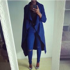 Navy blue outfit. Navy blue long jacket. Navy blue jacket. Denim outfit