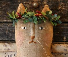 primitive folk art Christmas burlap cat pattern - etsy