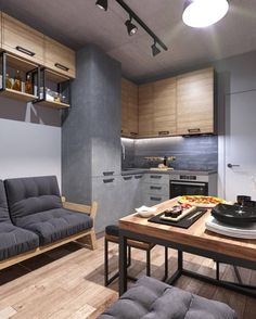 Loft-style kitchen, 9 sq / m, for a young man from Moscow. Small Apartment Interior, Small Apartment Kitchen, Loft Kitchen, Contemporary Apartment, Home Room Design, Loft Design, Design Design, Design Furniture, Plywood Furniture