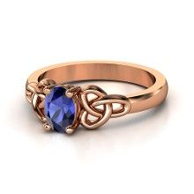 "as far as nerdy engagement rings go, this one's up there (sapphire & ""bronze""/rose gold for Ravenclaw, TARDIS blue, Celtic infinity knot), size 6"