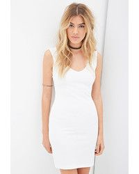 Daiva long sleeve mesh panel bodycon dress in white.