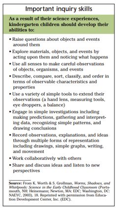 Inquiry skills that kindergarten children should be given the opportunity to develop and discover through exploration. As facilitators and educators we need to provide children with the opportunities and experiences to able to acquire such skills. Science Inquiry, Inquiry Based Learning, Preschool Science, Project Based Learning, Preschool Classroom, Science Activities, Early Learning, Teaching Tools, Teaching Resources
