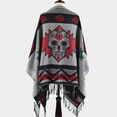 Day of the Dead Sugar Skull Aztec Fringe Poncho - Burgundy - Dempsey & Gazelle  - 1
