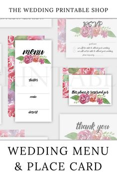 Pink Floral Wedding Menu and Place Card Printable Wedding Place Cards, Wedding Menu, Floral Wedding, Diy Wedding, Wedding Day, Stationery Design, Wedding Stationery, Wedding Printable, Floral Printables