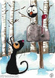 ACEO Original Watercolor Folk Art Illustration Stressie Cat Crow Snow Mail Box | eBay