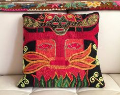 "Hand Embroidered Pillows, Double Sided Pillow Cover, 15.7"" square, Colorful & Vibrant, Hand embroidered by Quechua women."