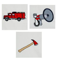 Feuerwehr & Feuerwehrauto Stickdesign auf www.gabrielles-embroidery.com