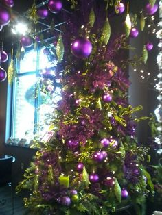 Purple Christmas / Purple Rain Christmas Tree...maybe not for my tree, but let's face it, there just aren't two colors 'anytime' of year  made more for each other than purple and lime!!!  Incredible!!!