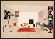 Stuff and Nonsense: Charles & Ray Eames – Collage of a room display for 'An Exhibition for Modern Living', 1949 Charles & Ray Eames, Ray Charles, Amazing Architecture, Art And Architecture, Architecture Graphics, Eames Design, Chair Design, Design Design, Graphic Design