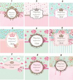 Kit Digital Floral Branco e Rosa Printable Labels, Party Printables, Labels Free, Cumpleaños Shabby Chic, Cadeau Surprise, Etiquette Vintage, Diy And Crafts, Paper Crafts, E 500