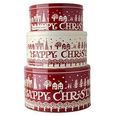 """Christmas Town"" Christmas Town Set of 3 Cake Tins at Emma Bridgewater"