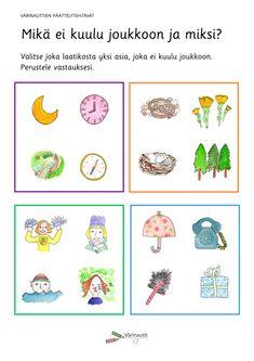 Päättelytehtävät - Värinautit Becoming A Teacher, Peanuts Snoopy, How To Become, Preschool, Comics, Teacher Stuff, German, Deutsch, German Language