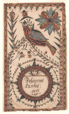 Bookplate (Bücherzeichen) for Johannes Landes  Pennsylvania, 1817