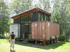 paul and sarah's shipping container get away RO/LU Container Home Designs, Cargo Container Homes, Building A Container Home, Container House Plans, Container Store, Shipping Container Buildings, Shipping Container Design, Shipping Containers, Shipping Crates
