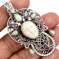 15g Face Carved Camel Bone 925 Sterling Silver Pendant Jewelry SP139242 | eBay