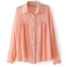 Pink Lapel Long Sleeve Pleated Chiffon Blouse ($23) ❤ liked on Polyvore