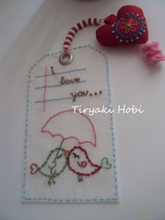 hand embroidered felt gift tag - 2