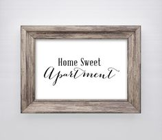 Home Sweet Apartment Print Wall Art Decor Quote Digital Instant On Etsy 2 00