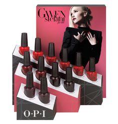 OPI Holidays 2014 Gwen Stefani Reds www. Pop Display, Display Design, Display Ideas, Gwen Stefani, Blond, Opi Red, Makeup Holder, Cosmetic Display, Displays