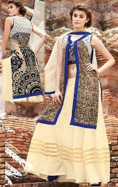 Picture of Flamboyant Cream and Brown Designer Palazo Kameez